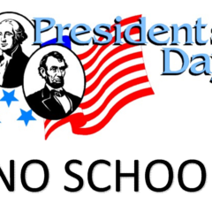 Reminder:  No School – Monday, February 18th